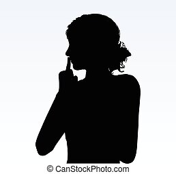 woman silhouette with hand gesture hush - Vector Image -...