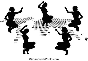 woman silhouette with hand gesture triumph sign - Vector...
