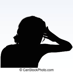 woman silhouette with hand gesture headache - Vector Image -...