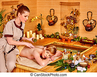 Woman getting relax massage .