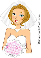 Bride holding bouquet with Clipping Path