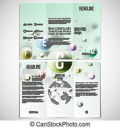 Vector set of tri-fold brochure design template on both sides with world globe element. Three dimensional glowing color spheres, green background. Abstract colorful vitamins. Scientific or medical patterns