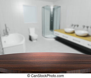 Wooden table with defocussed contemporary bathroom
