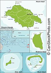 Pitcairn Islands map - The Pitcairn Group of Islands are a...