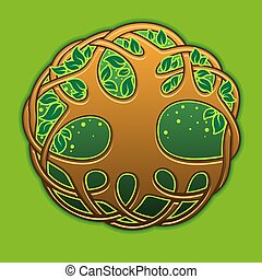 Tree Of Life - Celtic tree of life on the green background
