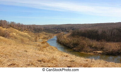 Spring landscape with the river and the blue sky, panorama