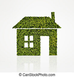House icon made of green tree