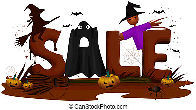 Sale - Halloween Sale with Clipping Path