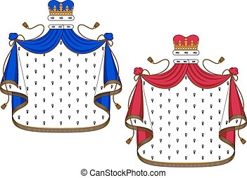 Blue and purple royal mantles with golden embellishments for...