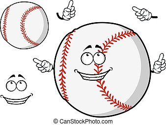 Happy cartoon baseball ball pointing its fingers - Happy...