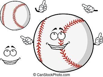 Happy cartoon baseball ball pointing its fingers - Happy...