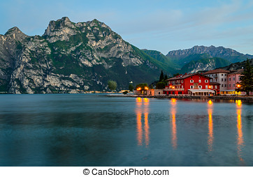 Lake Garda, Town of Torbole (Trentino, Italy) at early...