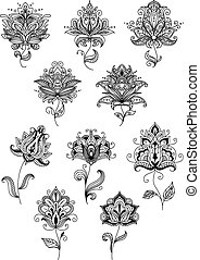 Vintage floral paisley elements and blossoms