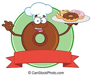Chef Chocolate Donut Circle Label - Chef Chocolate Donut...