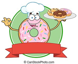 Chef Pink Donut Circle Label - Chef Pink Donut Cartoon...