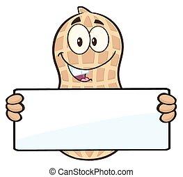 Peanut Holding A Blank Sign - Funny Peanut Cartoon Mascot...