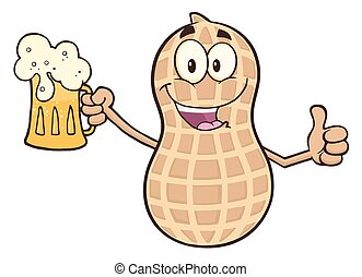 Peanut Character Holding A Beer