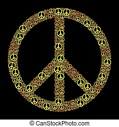 Colored Peace Sign Yellow Orange - Colored Peace Sign formed...