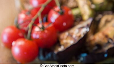 Selective focus on appetizing grilled vegetables -...