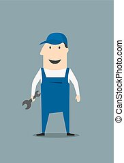 Cartoon mechanic or handy man holding a spanner or wrench...