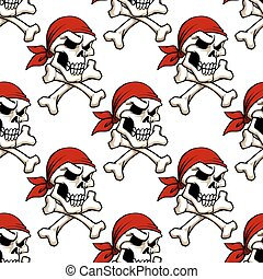 Pirate skull with crossbones seamless pattern
