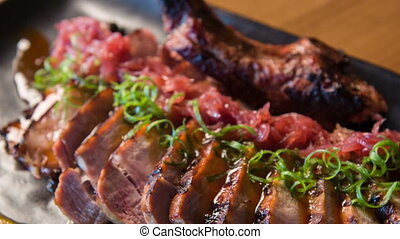 Selective focus on wonderful meat meal - Good-looking...