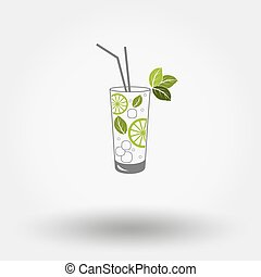 Mojito. - Colored web icon Mojito on a white background....