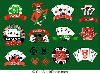 Set of colorful casino icons and emblems with playing cards,...