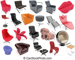 Collage of isolated armchairs - Isolated armchairs over...