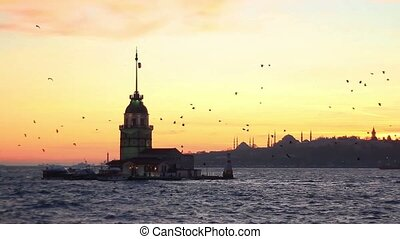 Istanbul from Salacak coast - Maidens Tower with Mosques and...