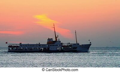 Silhouette of Istanbul City Ship - Passenger ship sailing in...