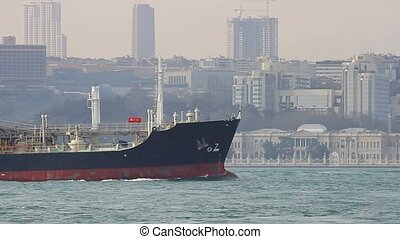 Liquefied Petroleum Gas ship sails - Tanker ship in front of...
