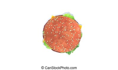 Hamburger - This is a 3D render. Hamburger turning itself....