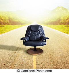 Office chair on the road  for leadership. Sometimes destined to succeed, it comes with risks.