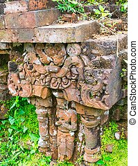 Relief of Hindu Temples at My Son in Vietnam - A UNESCO World Heritage Site