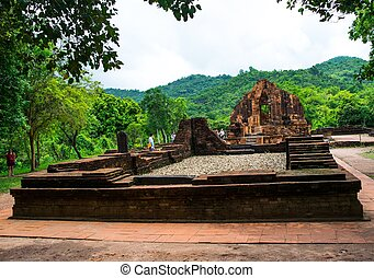 Ruined temple of the ancient Champa in My Son, Quang Nam,...