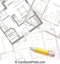 Vector furniture architect plan background Flat Design -...