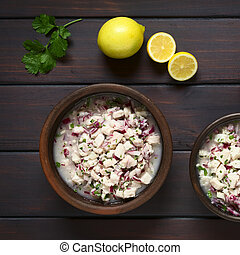 Chilean Ceviche made of Southern Rays bream fish lat Brama...