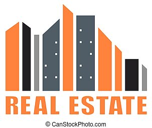 real estate symbol with many skyscraper silhouette