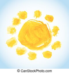 childlike sun watercolor painting - childlike watercolor...