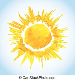 watercolor sun drawing on blue sky background