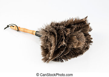 feather duster against white background - a feather duster...