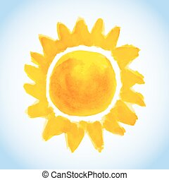 childish watercolor sun on blue sky background