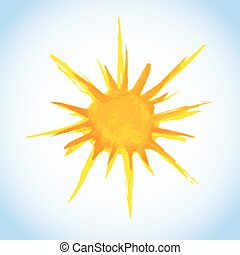 watercolor painting of sun on blue sky background