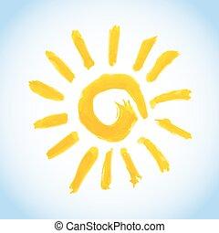 swirly watercolor sun on blue sky background