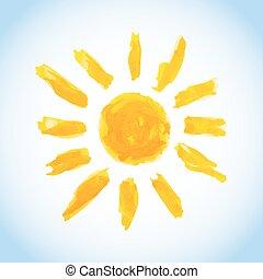 watercolor sun on blue sky