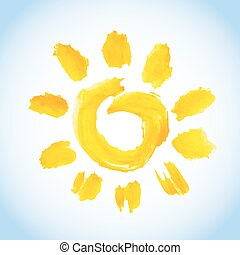 watercolor sun symbol on blue sky background