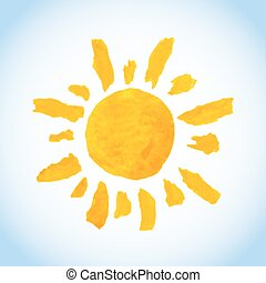 funny childlike watercolor sun on blue sky background