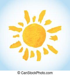 funny childlike watercolor sun on blue sky background