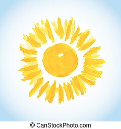 sun on blue sky background